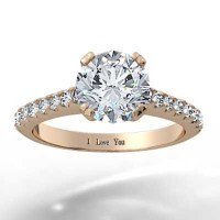 Rose Gold Thin Band French Pave Set Engagement Ring