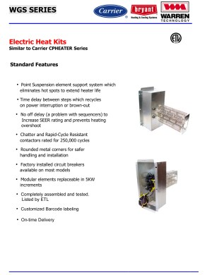 15 KW heat strip for CarrierBryantPayne heat pump package units (click for models) WGS1502H