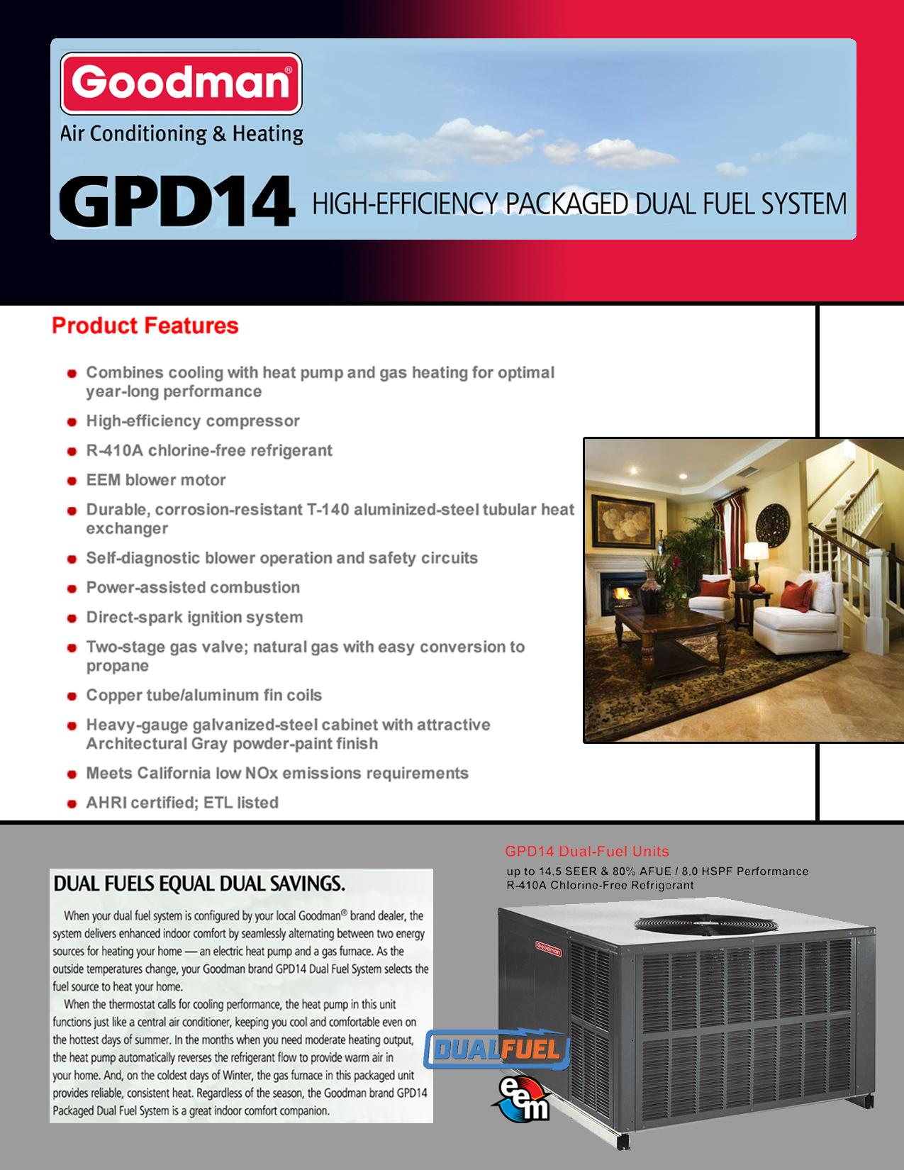 goodman heat pump package unit wiring diagram royal enfield bullet electra 2 ton 14 5 seer 60k btu gas