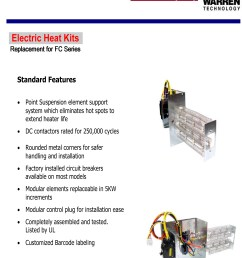 15 kw breakered heat strip for arcoaire air handlers fcv fcp fcx ef [ 2222 x 2830 Pixel ]