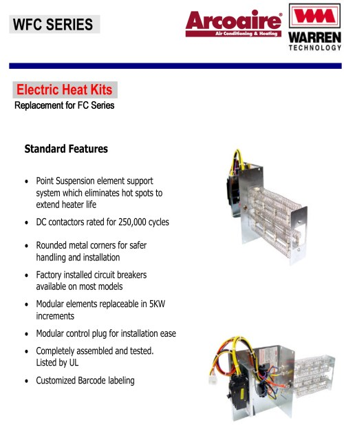 small resolution of 15 kw breakered heat strip for arcoaire air handlers fcv fcp fcx ef