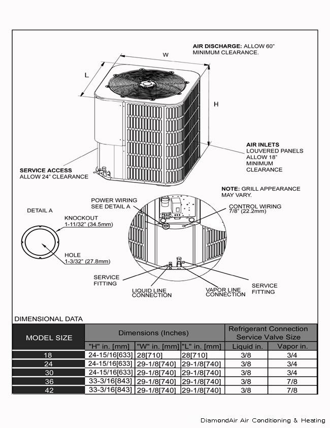 3.5 ton DiamondAir 15 seer R-410A heat pump system