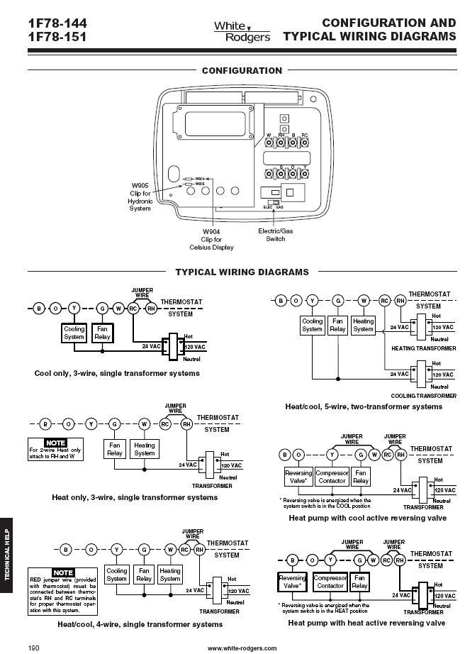 white rodgers thermostat wiring diagrams 3 phase switch diagram 1f78-144 1h/1c non-programmable