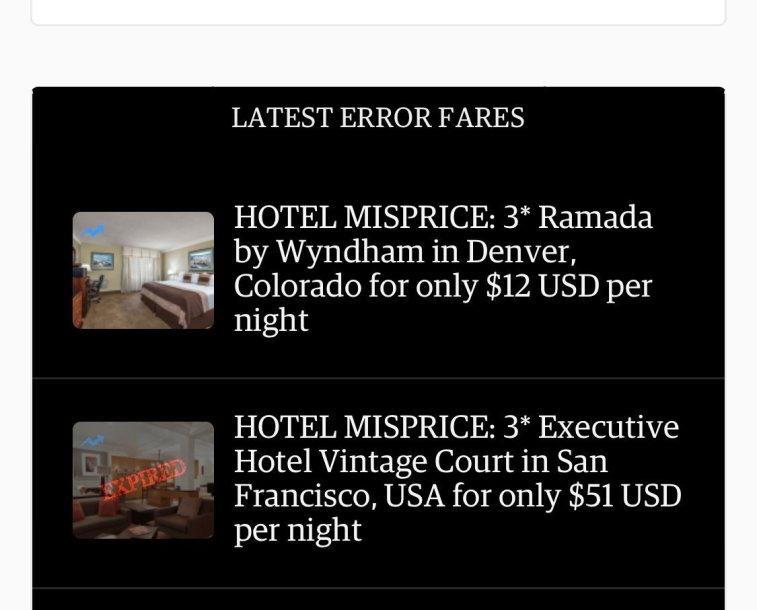 Example of hotel misprice