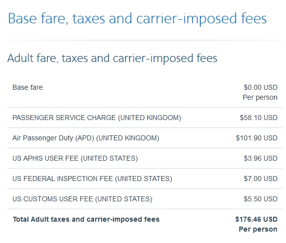 UK airline departure taxes