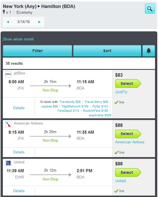 skyscanner ny to bermuda results