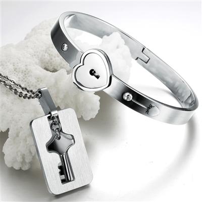 Womens Heart Lock Bracelet Mens Key Necklace Titanium