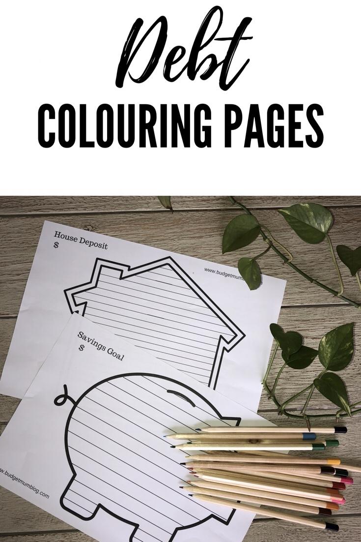 Debt Free Colouring Sheets Budget Mum