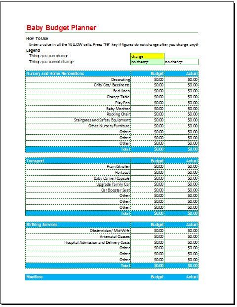 Baby Budget Template 03 - Budget Templates
