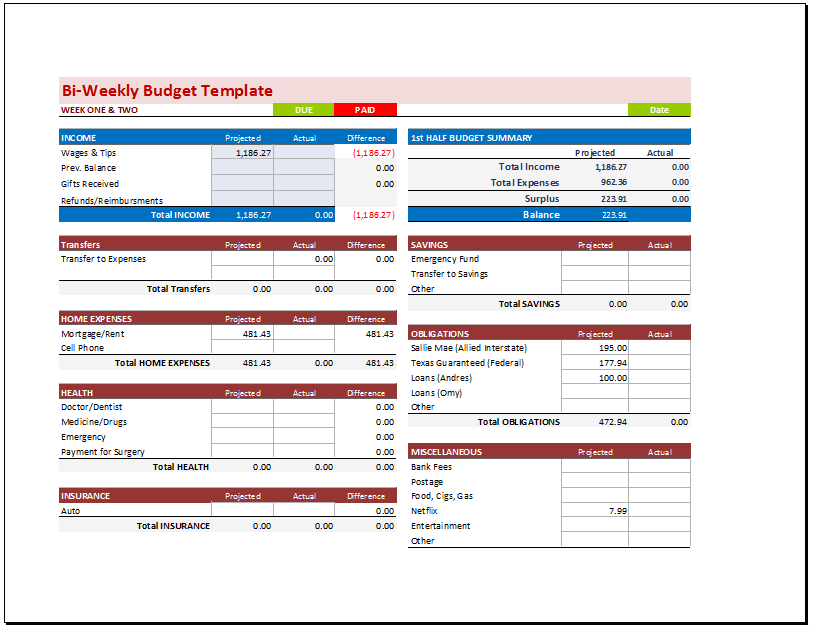 bi weekly budget - April.onthemarch.co
