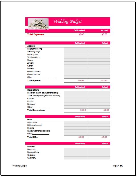 Wedding Budget Planner Template Basic Format