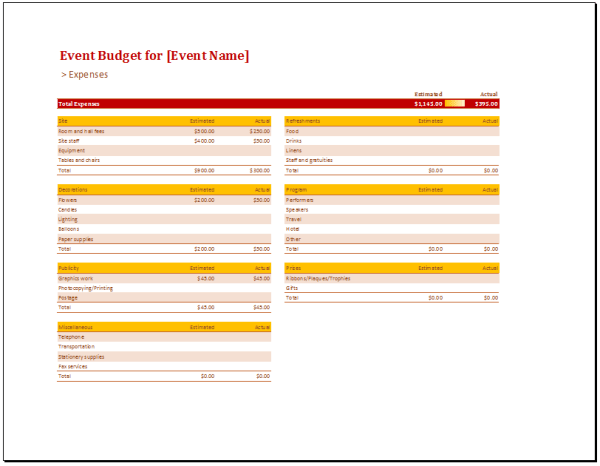 Basic Event Budget Template - Budget Templates
