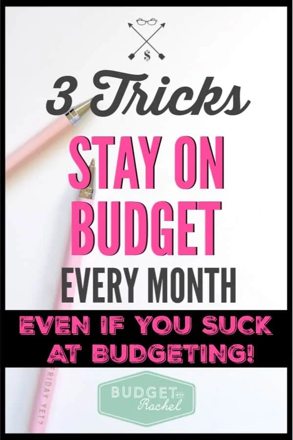 Tired of going over budget? Use these 3 tricks to actually stick to your budget every month. These budgeting tips and tricks are pure gold! After using them I am able to stick to my budget every single month. #3 was a total game changer for me. If you struggle with staying on budget, you need these tips!