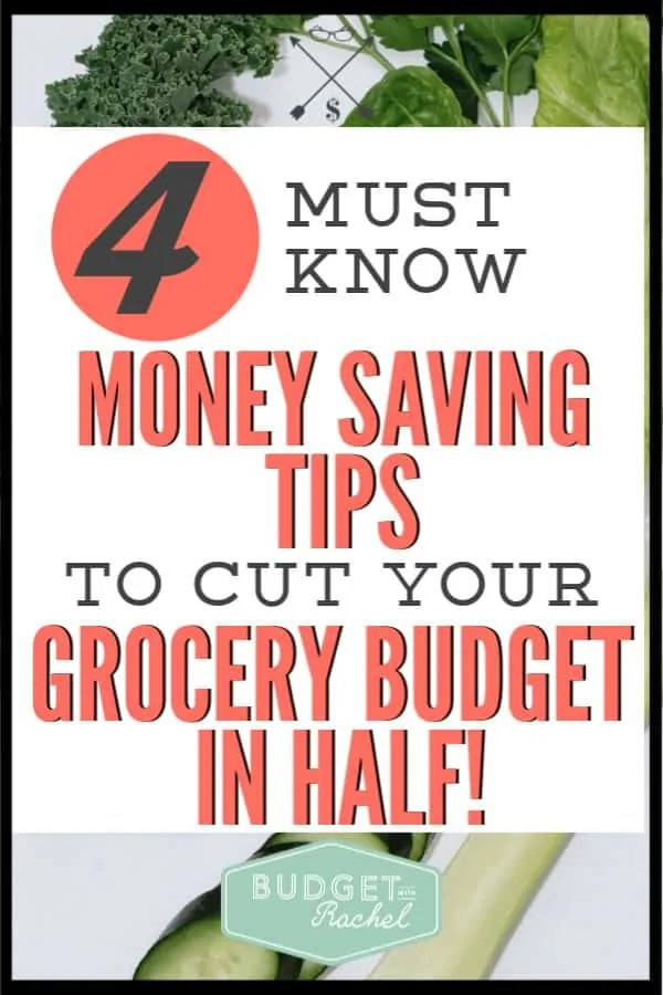 Use these money saving tips to cut your grocery budget in half! Start saving serious money on food when you make these simple changes. Your grocery budget can you offer you the opportunity for the most savings. These tips help me keep my budget at $250/month for family for my family of 4! #budget #budgettips #moneysavingtips