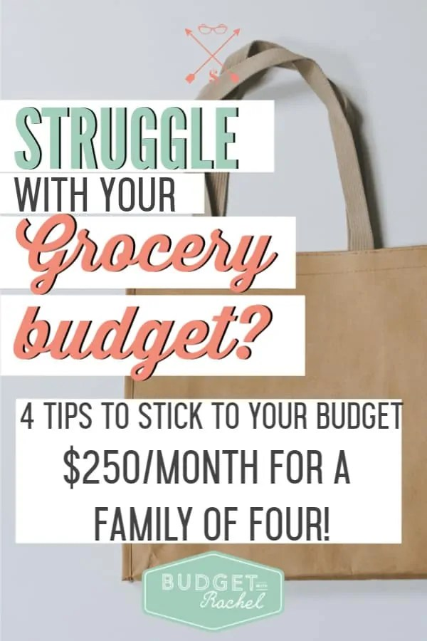 How to stick to your grocery budget every single month | 4 easy to implement tips to help you stick to your grocery budget | grocery budget hacks | feed a family for less with these grocery budgeting tips | save money ideas | save money tips | personal finance tips for grocery shopping | 4 ways to stay within your grocery budget | budgeting for beginners | budgeting tips #savemoney #moneysavingtips #budgettips #budget #personalfinance