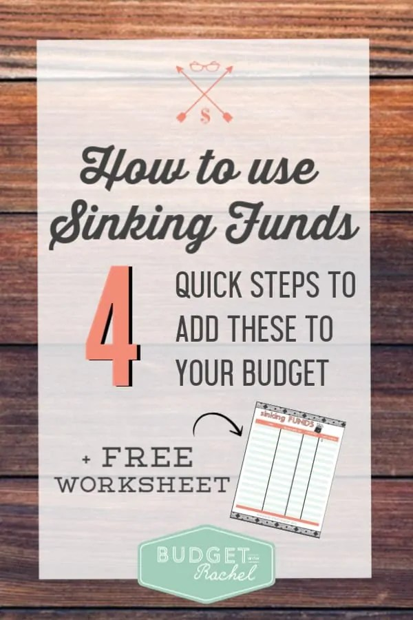 Sinking funds are mini saving accounts to help you stick to your budget | eliminate unexpected expenses with sinking funds | how to use sinking funds for beginners | sinking fund savings worksheet | free printables #budget #budgettips #freeprintables #moneysavingtips