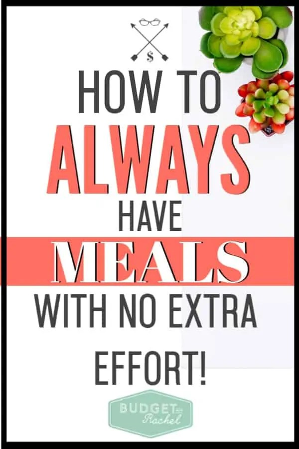If you struggle with having meals on hand at home, this is your answer! Implementing this little trick can be a total life saver in a pinch. Doing this has kept us out of the drive thru lane. #budget #budgettips #savemoney