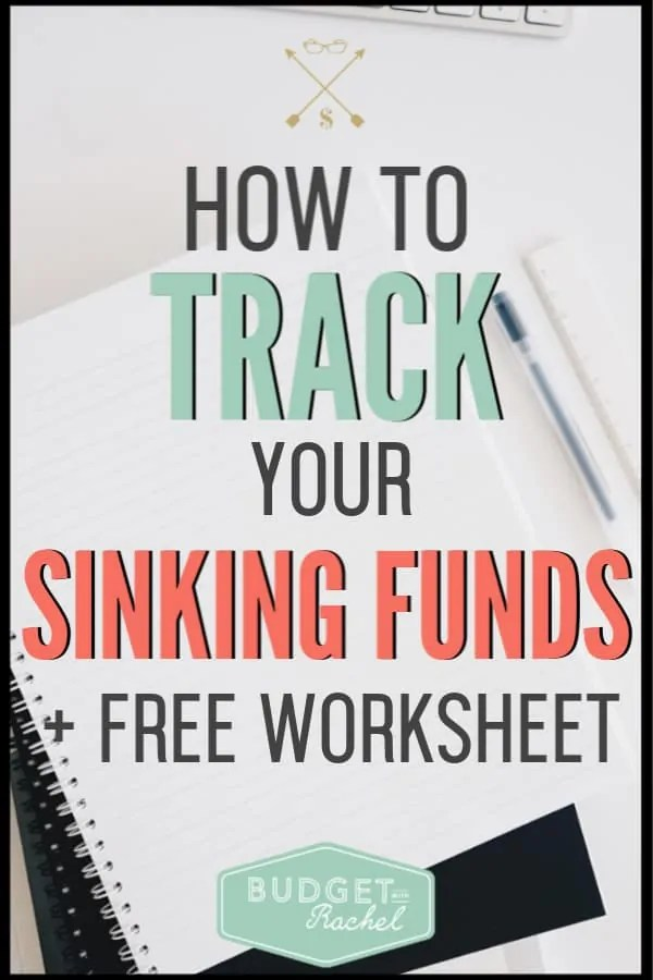 Once you have your sinking funds set up, you will need to track them. Use this awesome free sinking fund tracker worksheet to stay on track. Take your budget to the next level with sinking funds! #sinkingfunds #budget #freeprintables