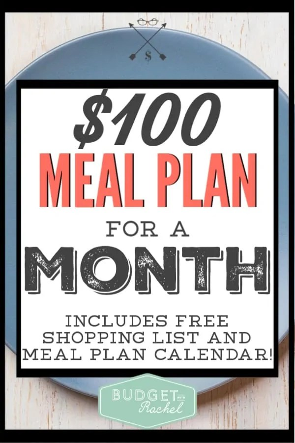Trying to cut costs on food? This is the cheapest monthly meal plan for a family of 4. You can do dinners for a month for just $100! Start saving money on food right now with this free meal plan. #mealplan #savemoney #moneysavingtips