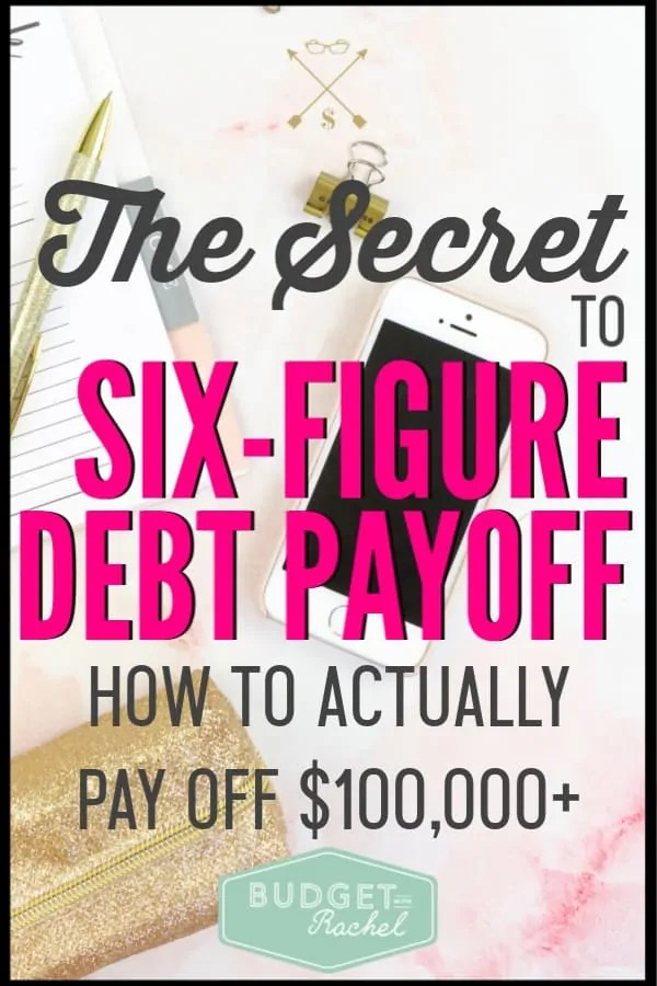 Learn the secret to paying off six-figure debt! This debt payoff strategy is key to staying motivated and becoming debt free. This is the first debt payoff step you should be taking on your journey. This debt payoff tip is so simple but so effective. Without this one thing, you will struggle to pay off your debt. #debtpayoff #debtfree #financialfreedom #freeprintables