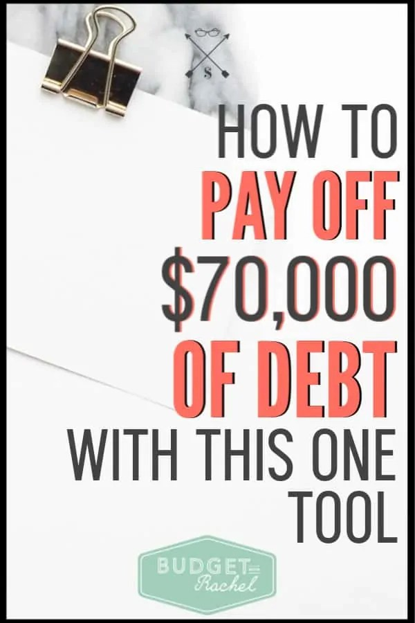 Ready to get out of debt? Start using this tool to help you get rid of debt fast. Becoming debt free all starts with this one thing. I was able to pay off $70,000 by implementing this tool. Get started today! #budget #budgettips #debtpayoff