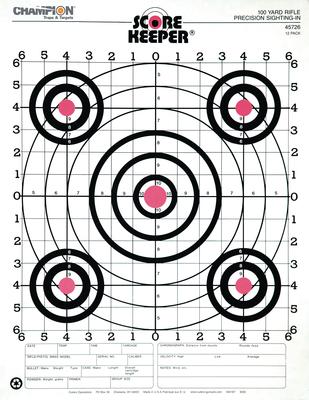 100 Yard Rifle Sight In Target Orange Bullseye 12 Per Pack