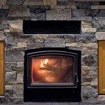 Stacked Stone Fireplace Rustic Wood Mantel Living Room Interior Design Idea Buechel Stone