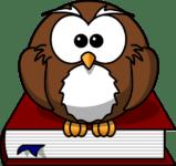 Eine braune Eule sitzt auf dem Buchrücken eines roten Buches, welche das Logo von Büchervergleich.org.