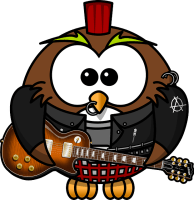 Rockige Eule mit rotem Iro und E-Gitarre