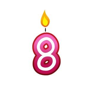 Bügelbild Kerzenzahl 8