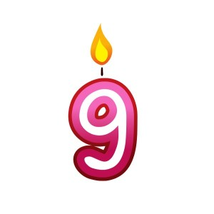 Bügelbild Kerzenzahl 9