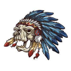 Bügelbild Indian Skull