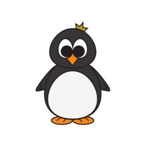 Bügelbild Kleiner Pinguin König