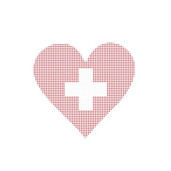 Bügelbild Schweizer Herz gepunktet