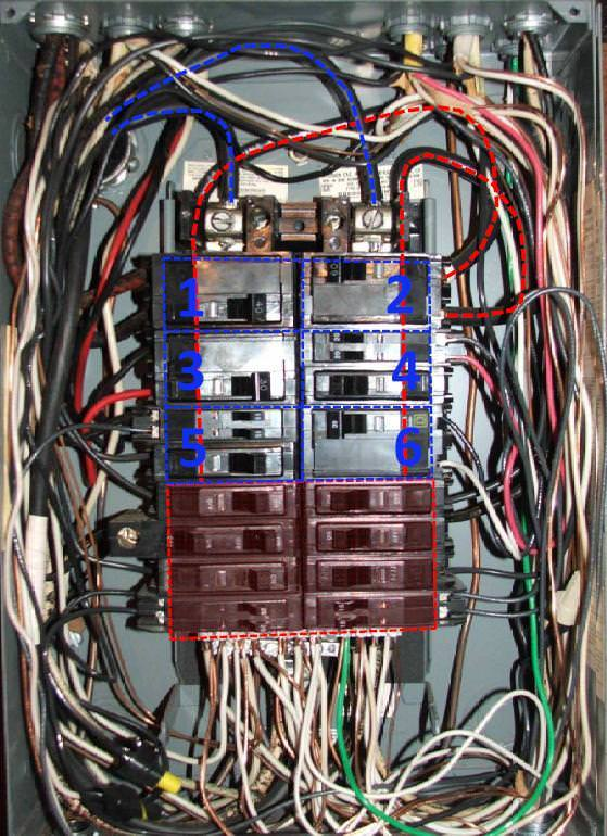 240v single phase wiring diagram wheel horse 520h split bus electrical panels-no main breaker. - charles buell inspections inc.