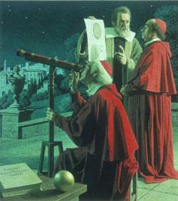 Galileo muestra telescopio a Cardenales