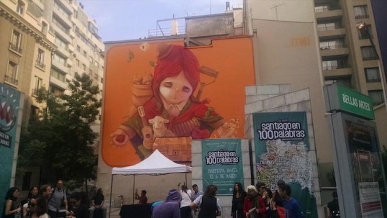 desenho grafite ilustração no metro bellas artes de santiago