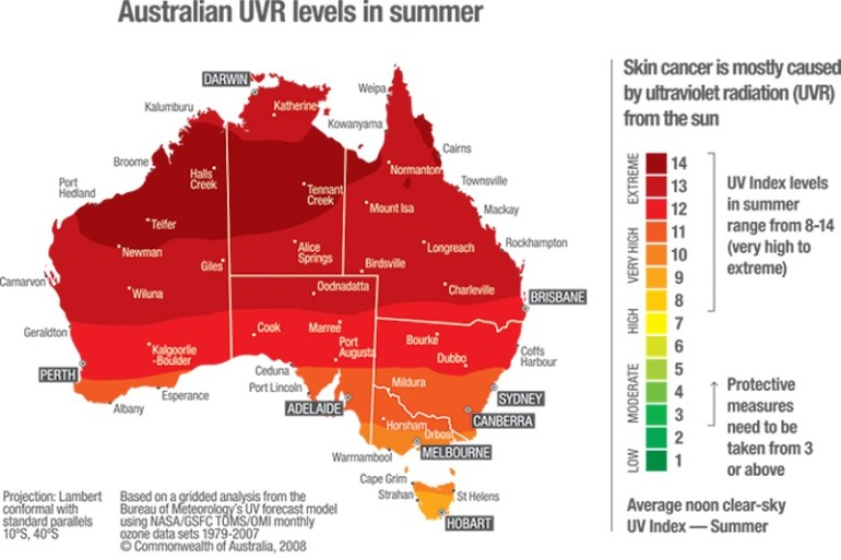 mapa uv australia