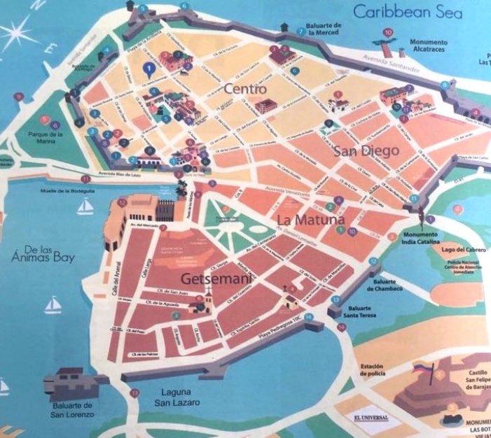 Mapa da cidade amuralhada de Cartagena – Bairros centrais