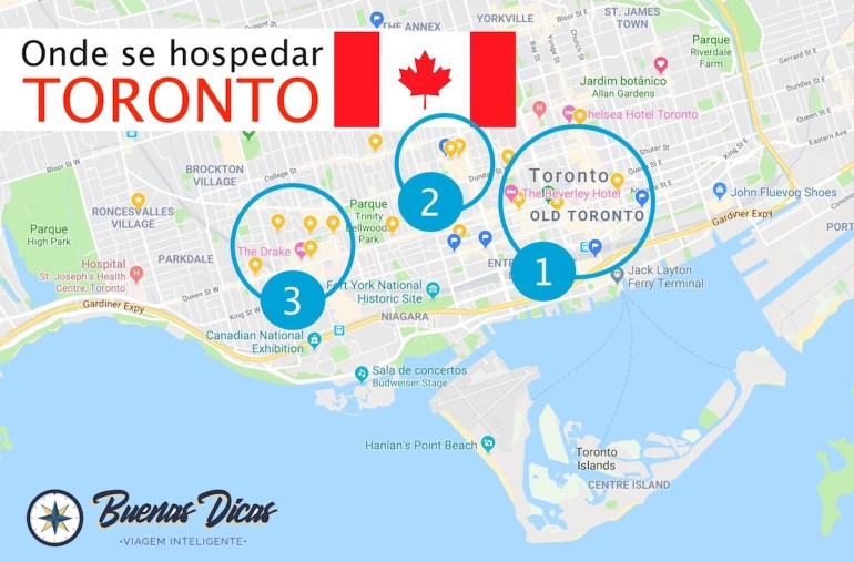 Mapa de Toronto, com melhores bairros onde ficar em viagem a turismo.