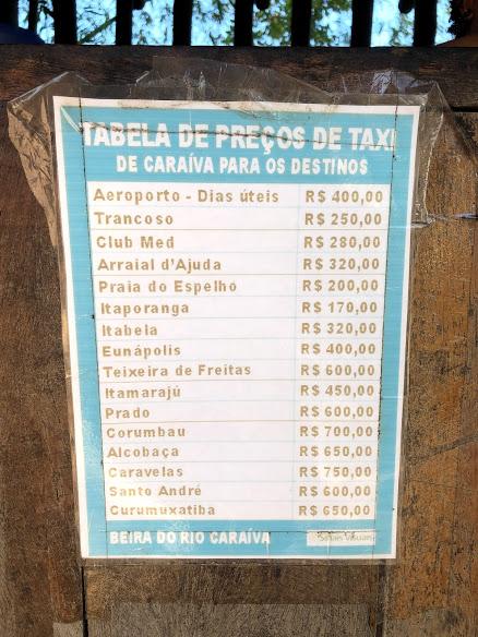 Preços de táxi de Caraíva para Porto Seguro, Trancoso, Praia do Espelho e mais