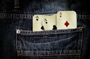 playing cards in pocket