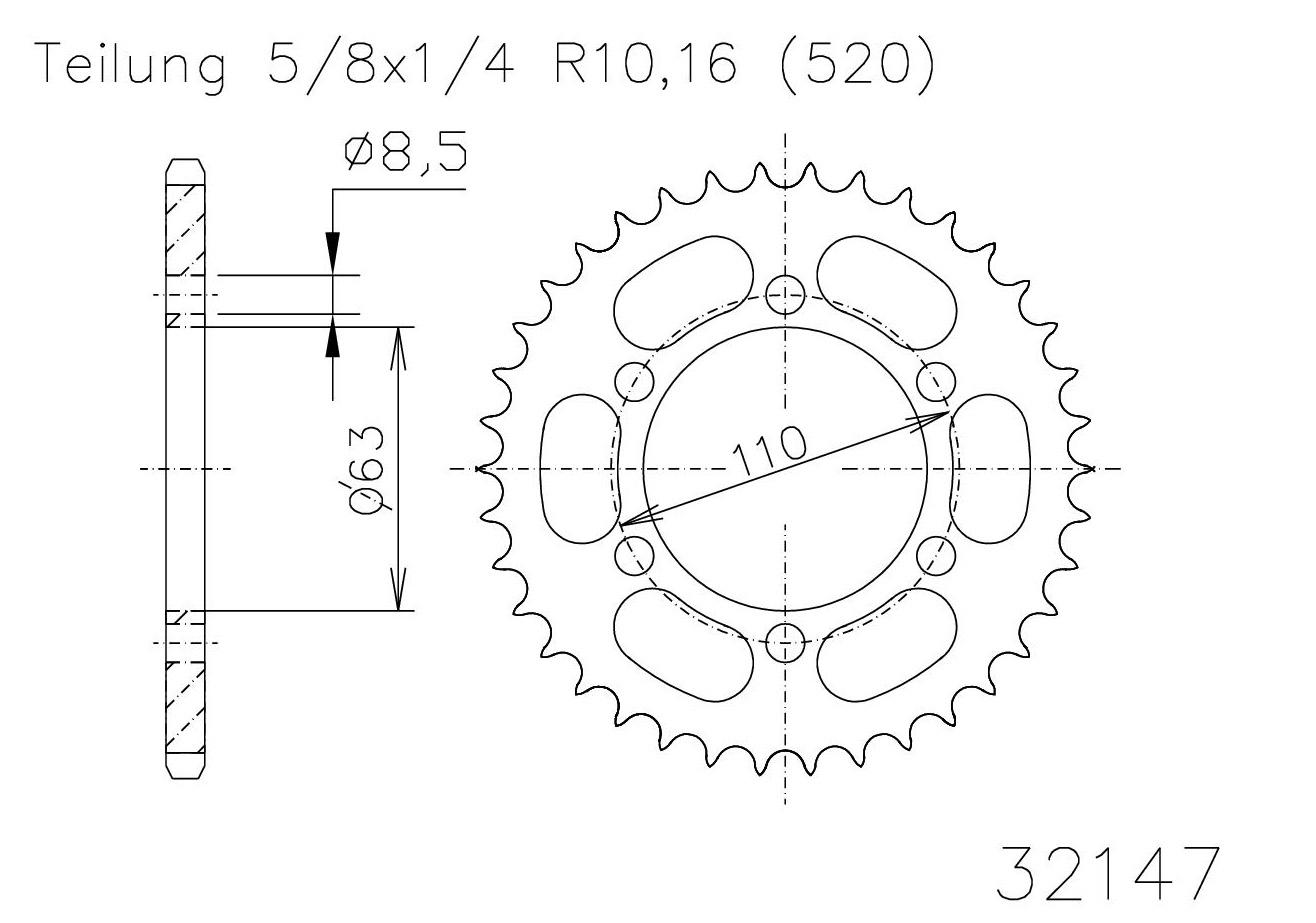 Kettenrad 45 Z-653214745