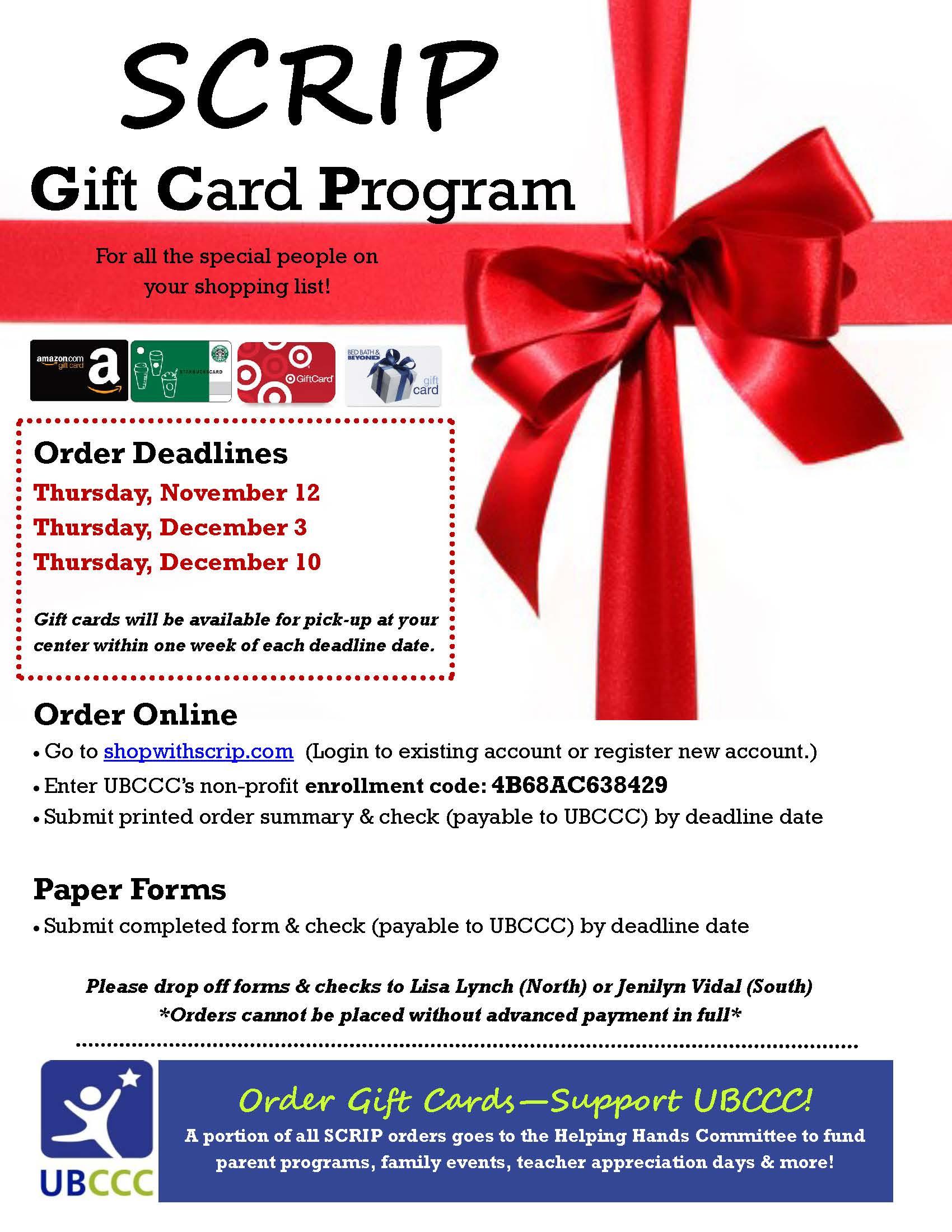 Annual SCRIP Gift Card Program University At Buffalo
