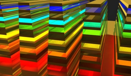 "An image of the ""hyperbolic metamaterial waveguide,"" which catches an ultimately absorbs wavelengths (or color) in a vertical direction."