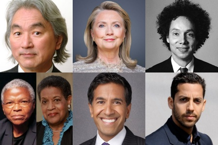 Clockwise from top left: Kaku Michio, Hillary Rodham Clinton, Malcolm Gladwell, David Blaine, Sanjay Gupta, Myrlie Evers-Williams and Mary Frances Barry.