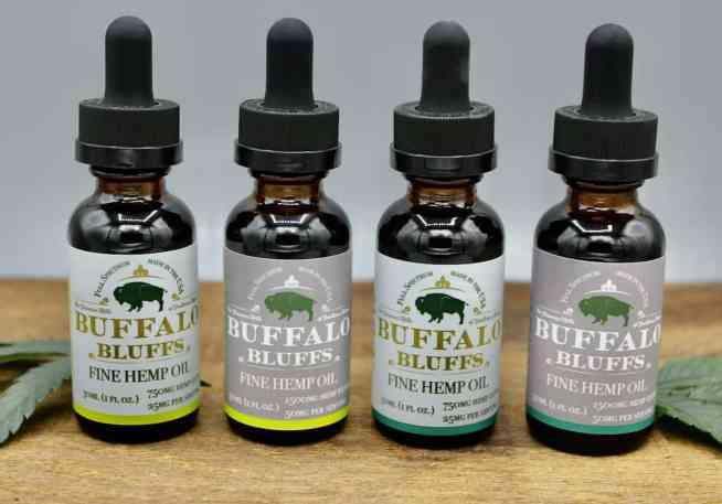 Four tinctures in various flavors and strengths.