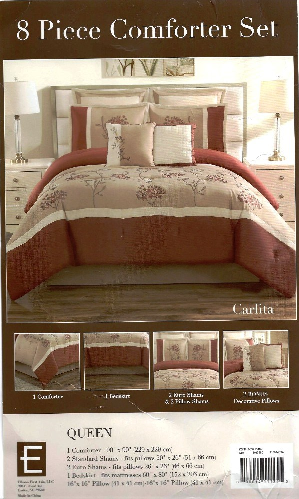 8 Pc Embroidered Comforter Set Carlita  Rust Tan