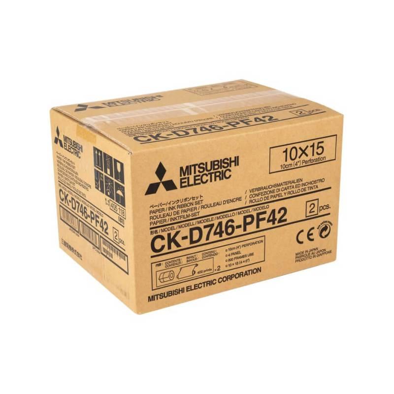 "Mitsubishi CK-D746-PF42 4x6"" Perforated Paper & Ribbon Media Kit For CP-D70DW, CP-D707DW & CP-D90DW Printer"