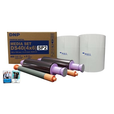 "DNP DS40 4x6"" Single Strip Perforated Dye Sub Printer Media Kit (2 Rolls, 800 Prints)"